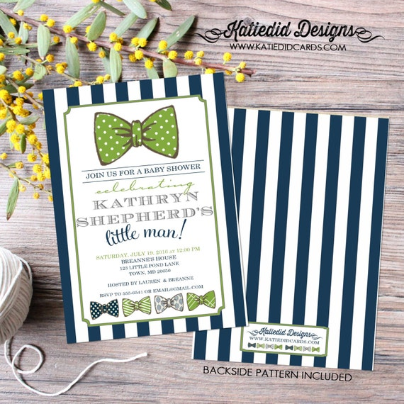 little man bow tie baby shower invitation boy navy stripe green gentleman birthday diaper wipes brunch couples retirement | 12102 Katiedid