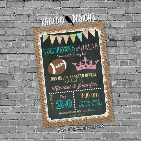 gender reveal invitation touchdown or tiara football couples baby shower twins birthday chalkboard coed neutral gay | 1472 katiedid designs
