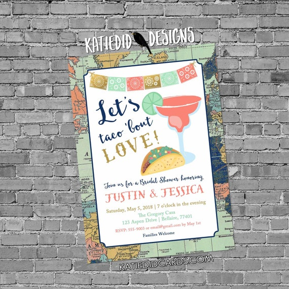 Adventure awaits Fiesta Invitation couples shower bridal taco world map cinco de mayo stock the bar I do BBQ engagement party | 305 Katiedid