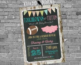 football gender reveal invitation touchdown tutu twins baby shower chalkboard wood lace rustic two moms birthday LGBT | 1431 Katiedid Design