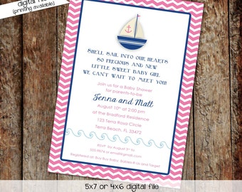 nautical baby shower invitation sailboat under the sea pink navy twins sprinkle couples coed sip see diaper wipes   1328 Katiedid Designs