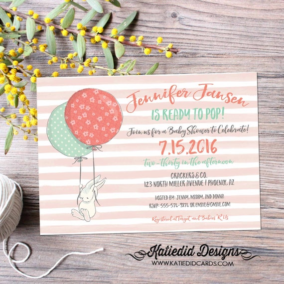 gender reveal invitation Ready to pop balloon couples baby shower rabbit bunny girl neutral coed sip see sprinkle twins | 1458 Katiedid card