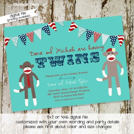 sock monkey couples baby shower invitation boy patriotic twins birthday coed diaper wipes brunch sprinkle sip see | 159 katiedid designs