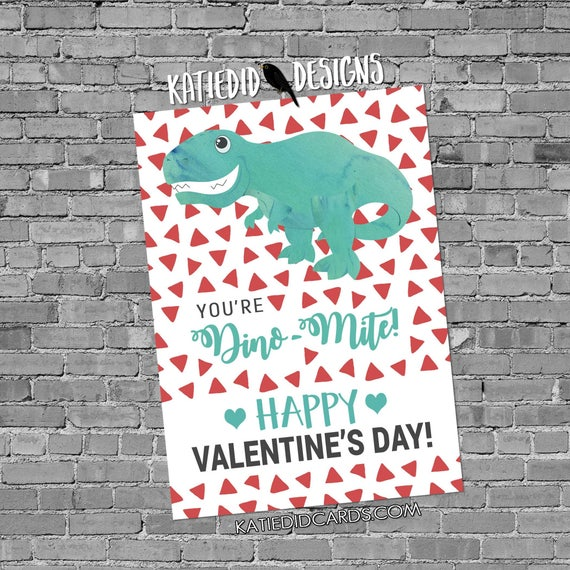 dinosaur valentine's day cards | preschool valentines | valentine cards kids | valentine card ideas | school valentine's day | Katiedid Card