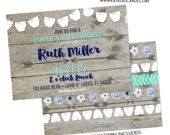 baby boy shower invitation diaper wipes rustic tribal gender neutral reveal couples coed twins mint navy arrows LGBT   1417 katiedid designs