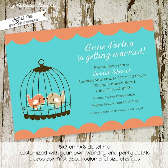 Couples shower invitation love birds cage bridal rehearsal dinner I do BBQ engagement party stock the bar wedding coral | 312 Katiedid cards