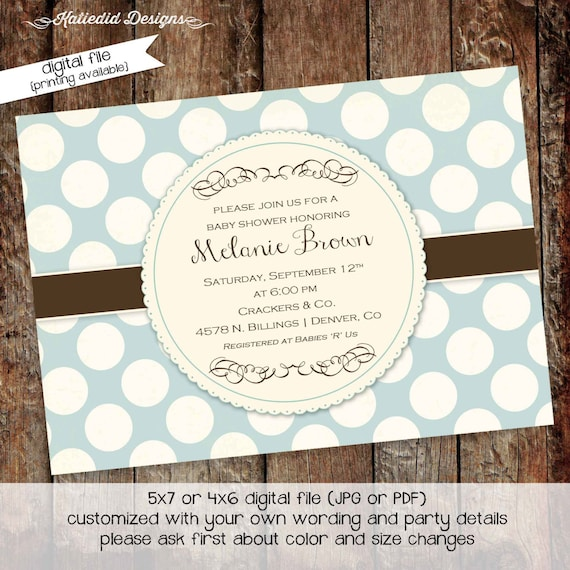 Couples baby shower invitation baptism sprinkle sip see gender reveal neutral blue boy coed diaper wipes blessing | 1244 Katiedid Designs