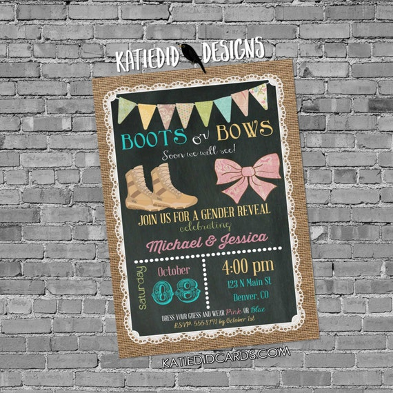 gender reveal invitation couples baby shower military army patriotic boots or bows burlap lace chalkboard twins coed | 1410 Katiedid Designs