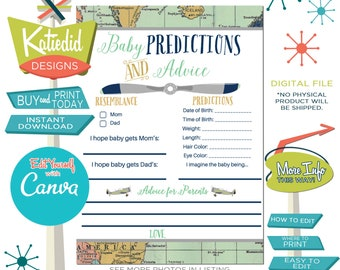 Baby Shower Predictions and Advice Game, Adventure Awaits Travel theme with vintage airplane | 12124 Katiedid Designs