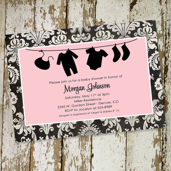 couples baby shower invitation clothes laundry bodysuit bunting banner sprinkle pink black damask rustic diaper wipes | 1313 Katiedid Cards