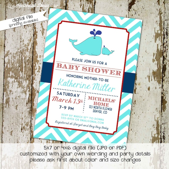 nautical baby shower invitation under the sea whale boy navy aqua red couples coed sip see sprinkle gender reveal | 12106 Katiedid Designs