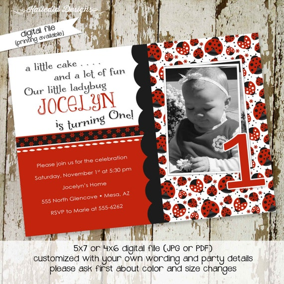 Ladybug birthday invitation photo picture ultrasound pregnancy announcement couples baby shower baptism christening | 218 Katiedid Designs