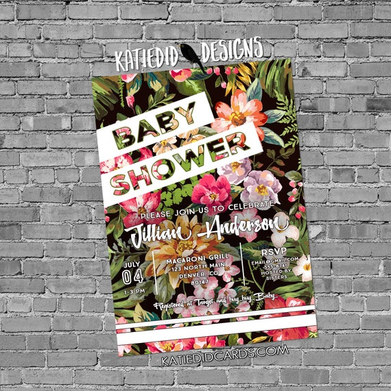 luau Hawaiian invitation coed baby shower couples floral Sporty Chic bridal stock the bar I Do BBQ Engagement party | 1483 katiedid designs