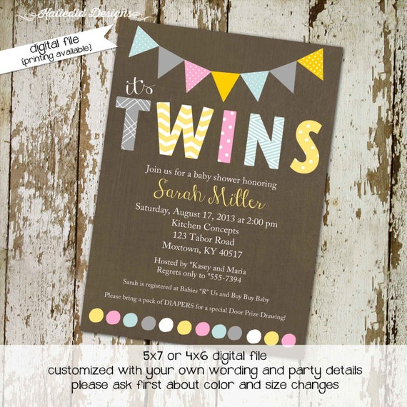 Twins gender reveal invitation couples baby shower coed neutral pink yellow gray sprinkle sip see diaper wipe birthday brunch | 150 Katiedid