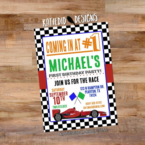 60th birthday race car invitation boy 1st adults only 30th 40th 50th 70th retirement party couples baby shower sip see | 298 Katiedid Design
