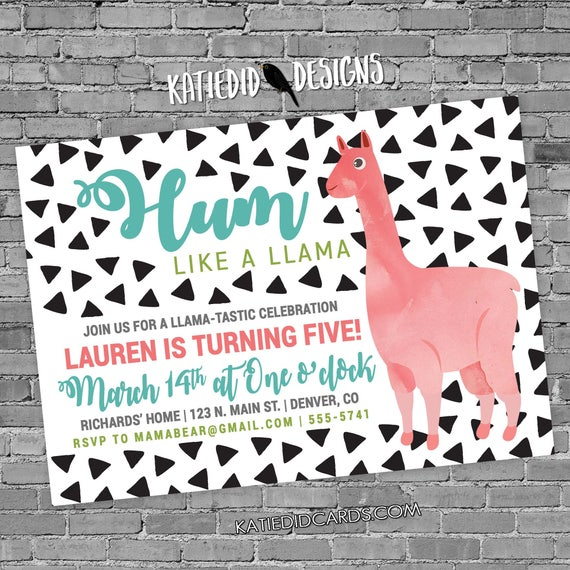 Llama birthday invitation triangle confetti gender reveal neutral couples baby shower boy girl diaper wipes party | 2003 Katiedid Designs