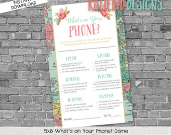 what's on your phone shower game, gender reveal party game, world map baby shower | 370 Katiedid Designs
