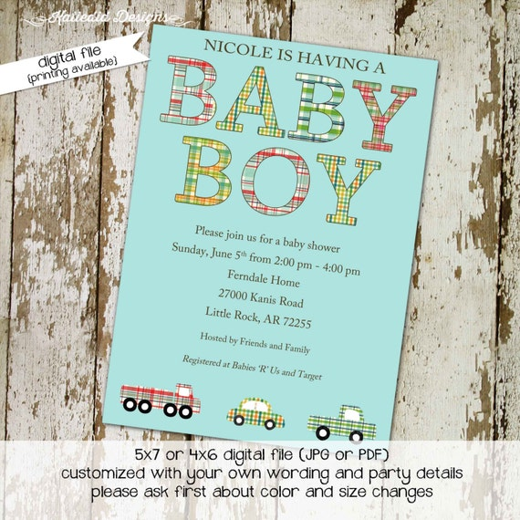 train baby shower invitation plaid couples coed boy twins diaper wipes brunch sprinkle sip see 1st birthday travel theme | 1221 Katiedid