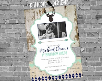 deer baby boy shower invitation ultrasound photo picture birthday baptism rustic tribal navy mint gray sprinkle coed   1238b Katiedid Cards