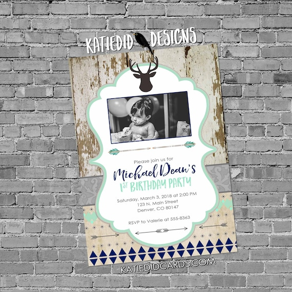deer baby boy shower invitation ultrasound photo picture birthday baptism rustic tribal navy mint gray sprinkle coed | 1238b Katiedid Cards