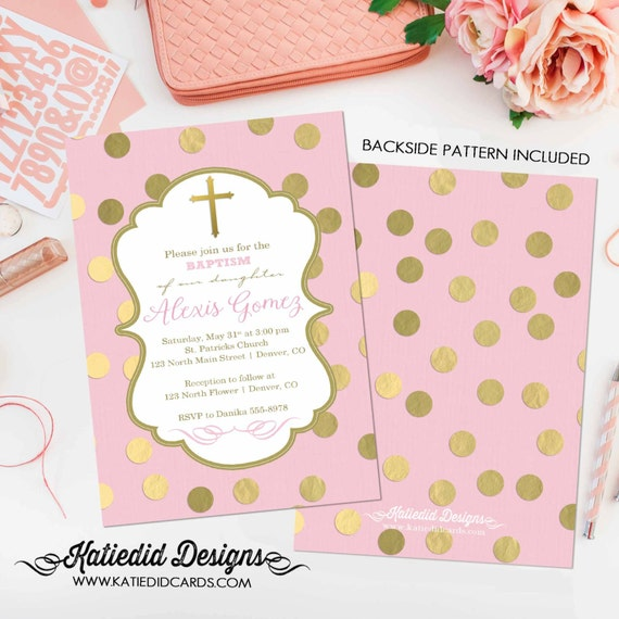 Baptism invitation christening first communion cross crucifix gold foil pink couples baby shower girl coed sip see sprinkle | 1307 Katiedid