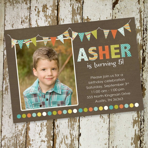 baby boy shower invitation ultrasound photo birthday picture twins bunting banner rustic baptism couples coed sprinkle | 205 Katiedid Cards
