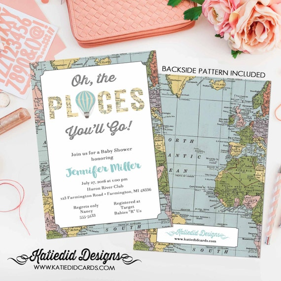 adventure awaits hot air balloon travel theme world map baby shower invitation oh the places you'll go gender reveal | 12110 Katiedid Design