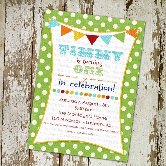 circus birthday invitation little boy birthday invitation bunting banner lime green polka dots brother sister birthday 229 Katiedid Designs