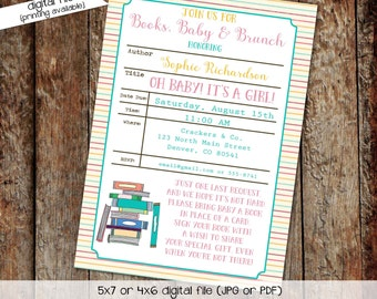 once upon a time baby shower invitation storybook bring a book library card gender neutral reveal twins couples coed   1325 Katiedid Designs