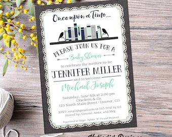 storybook once upon a time baby shower invitation boy book theme diaper wipes brunch couples coed burlap lace navy mint   12122 Katiedid