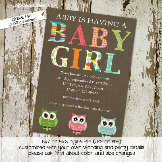 gender reveal invitation neutral couples owl baby shower rainbow coed sprinkle sip see brunch diaper wipes twins gay | 1315 Katiedid Designs