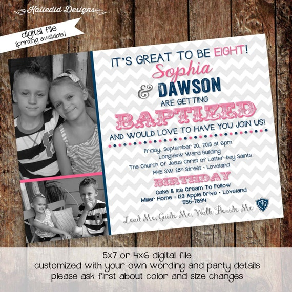 baptism invitation mormon great to be 8 eight LDS twins double photo announcement birthday brother sister pink navy | 706 Katiedid Designs