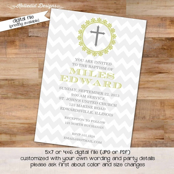 baptism invitation first communion christening spanish cross crucifix gray chevron birthday boy twins baby shower | 703 Katiedid Designs