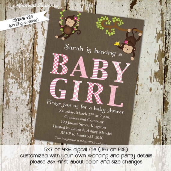 monkey couples baby shower invitation jungle safari coed sprinkle sip see birthday diaper wipes brunch girl twins LGBT | 1349 Katiedid Cards