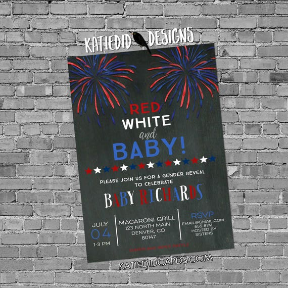 gender reveal invitation baby shower 4th of July couples coed American Patriotic diaper wipes BBQ picnic firecracker he she | 1478b Katiedid