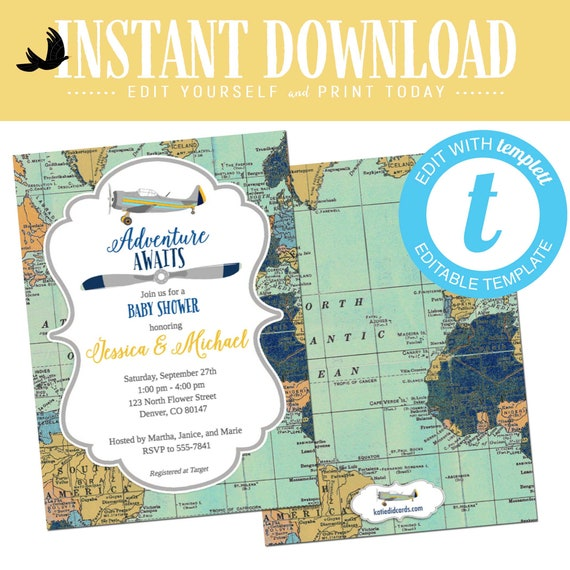 Travel Theme Baby Shower Invitation, Airplane adventure awaits boy birthday | 12124c Katiedid