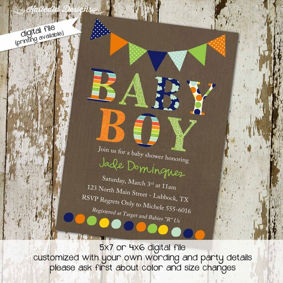 couples baby shower invitation oh boy birthday twins coed sprinkle sip see diaper wipes brunch orange navy green gay | 1232 Katiedid Designs