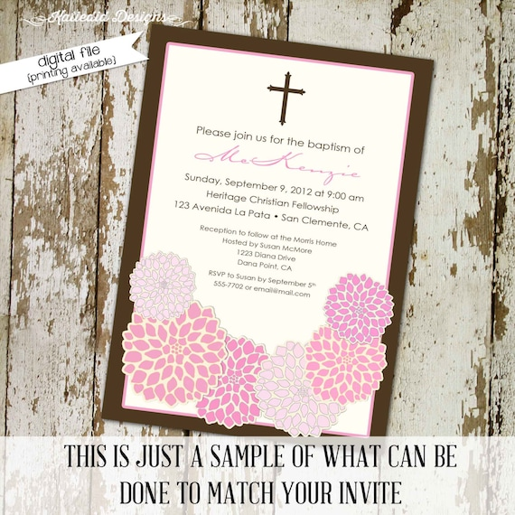 Baptism invitation christening first communion pink floral baby girl shower cross crucifix announcement couples coed sprinkle | 708 Katiedid