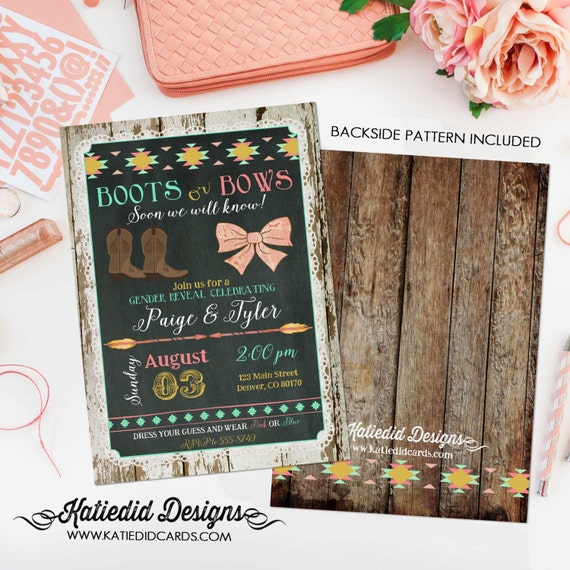 Gender reveal invitation boots or bows twins tribal baby shower cowboy western arrows boho couples coed mint coral | 1439 Katiedid Designs