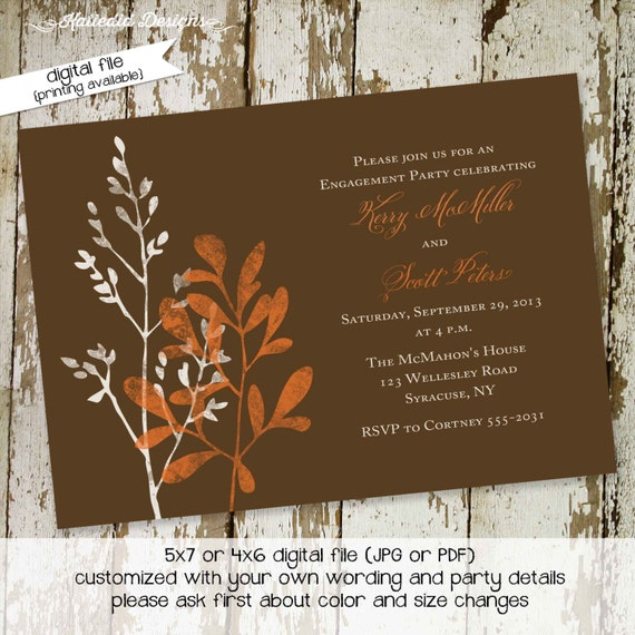 Couples shower Invitation I do BBQ engagement party coed stock the bar Rehearsal Dinner after party rustic watercolor | 338 Katiedid Designs