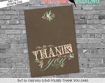 storybook once upon a time mint coral floral chic kraft paper rustic chic surprise gender baby shower THANK YOU CARD 1379 Katiedid Designs