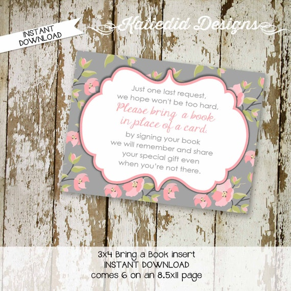 Bring a Book instead of a card enclosure card insert storybook theme library floral chic invite pink gray once upon a 1335 katiedid designs