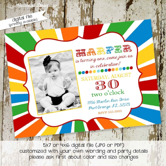 rainbow invitation sunburst circus birthday picture photo ultrasound couples baby shower coed sprinkle sip see baptism | 231 Katiedid Design