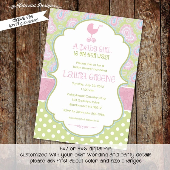couples baby shower invitation sprinkle sip see coed diaper wipes brunch paisley polka dots pink stroller baptism | 1370 Katiedid Designs