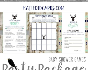 baby shower party package Rustic oh boy Tribal Arrow Coed Game BINGO Price is Right What's on your phone gray mint navy   1238b Katiedid