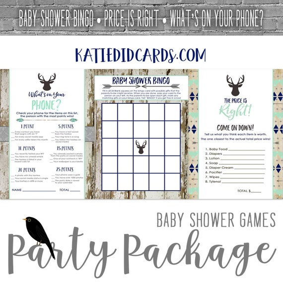 baby shower party package Rustic oh boy Tribal Arrow Coed Game BINGO Price is Right What's on your phone gray mint navy | 1238b Katiedid