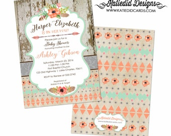 Tribal Baby Shower, Couple Shower Invitation, Twin Gender Reveal, Rustic Mint Green Coral   1445 Katiedid Designs