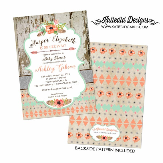Couples baby shower invitation coed sprinkle rustic boho tribal mint coral wood pow wow books brunch wild one girl | 1445 Katiedid Designs