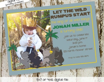 where the wild things are wild one birthday baby shower invitation boy sprinkle pregnancy announcement photo picture   272 Katiedid Designs