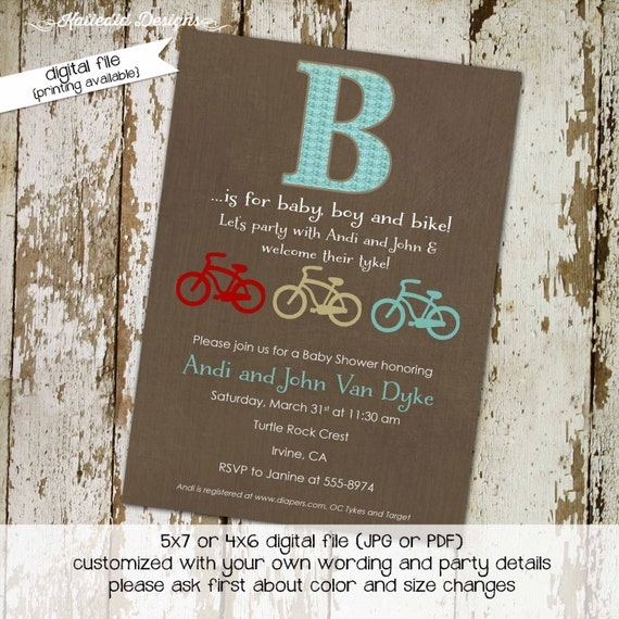 bicycle couples baby shower invitation boy rustic red white blue patriotic coed twins birthday sprinkle sip see brunch | 1250 Katiedid Cards